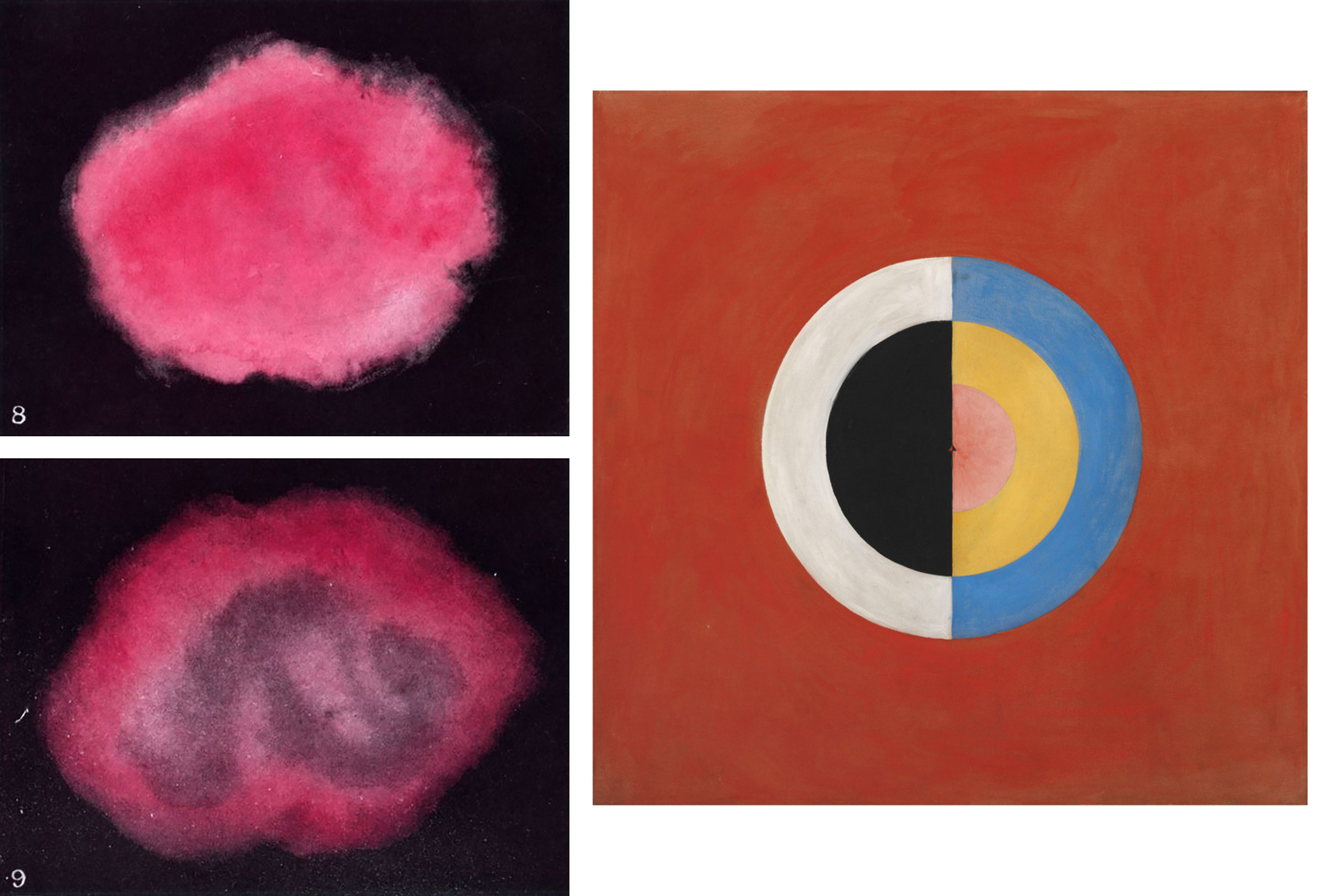 Left: Figures 8 and 9 from Annie Besant and C. W. Leadbeater, Thought Forms, 1905 (London: The Theosophical Publishing House LTD). Right: Hilma af Klint, Group IX/SUW, No. 17. The Swan, 1915, oil on canvas, 150.5 × 151 cm (Moderna Museet / Stockholm).
