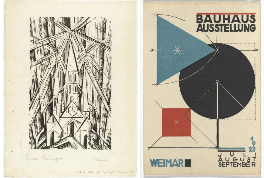 Left: Lyonel Feininger, Cathedral, cover for Program of the State Bauhaus in Weimar, 1919, woodcut, 41 x 31 cm (MoMA). Right: Herbert Bayer, Bauhaus Exhibition poster, 1923, lithograph, 15 x 10 cm (MoMA)