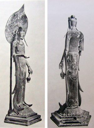 Front and back views of Kudara Kannon from before 1917, sculpture in camphor wood, carved in the 7th century, Hōryūji, Nara, Japan (image adapted from: Wikimedia Commons)