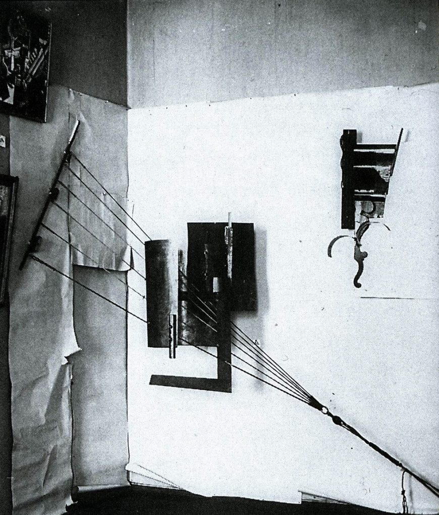 Photo of Tatlin's sculpture at the Last Futurist Exhibition.