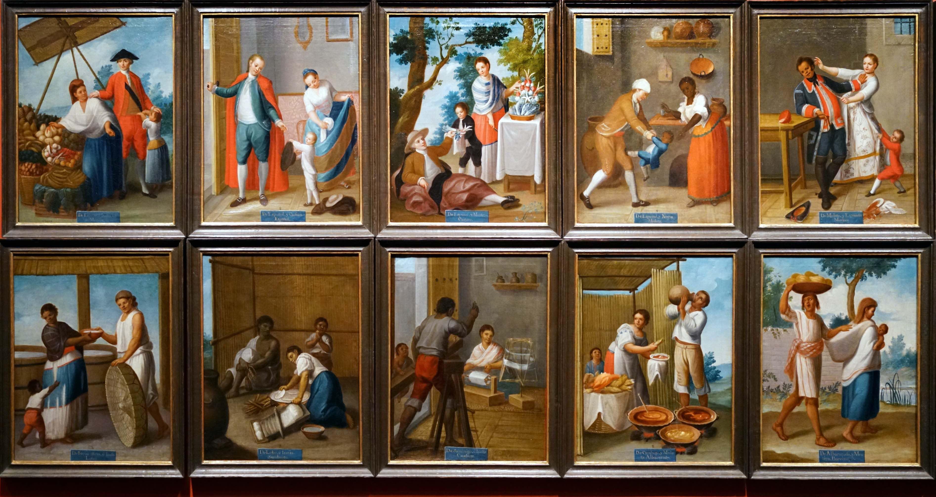 Francisco Clapera, set of sixteen casta paintings, c. 1775, 51.1 x 39.6 cm (Denver Art Museum)
