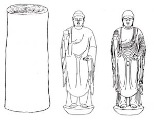 Stages of ichiboku-zukuri 一本造 technique. From left to right: block of wood; sculpture carved in rough form out of the wood block; fine details are further carved (image adapted from: Nara National Museum)