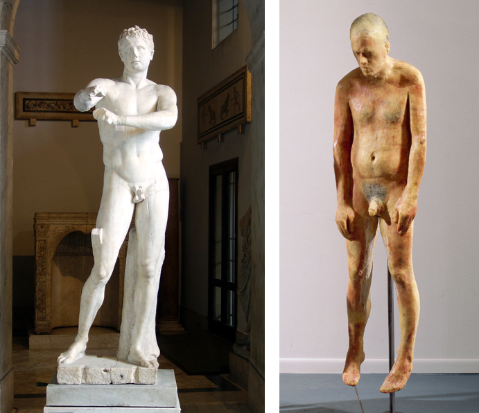 Left: Lysippos, Apoxyomenos (Scraper), Roman copy after a bronze statue from c. 330 B.C.E., 6′ 9″ high (Vatican Museums); right: Kiki Smith, Untitled, 1990, 198.1 × 181.6 × 54 cm, beeswax and microcrystalline wax figures on metal stands (Whitney Museum of American Art)