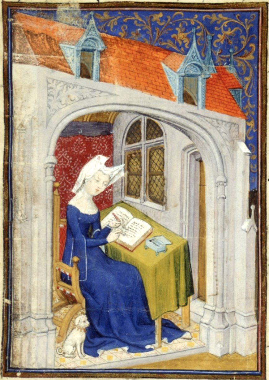 "Christine de Pizan in her study (detail), for The Queen's Manuscript, c. 1410–1414, f. 4r (Harley MS 4431, <a href=""http://www.bl.uk/manuscripts/FullDisplay.aspx?ref=Harley_MS_4431"">British Library</a>)"