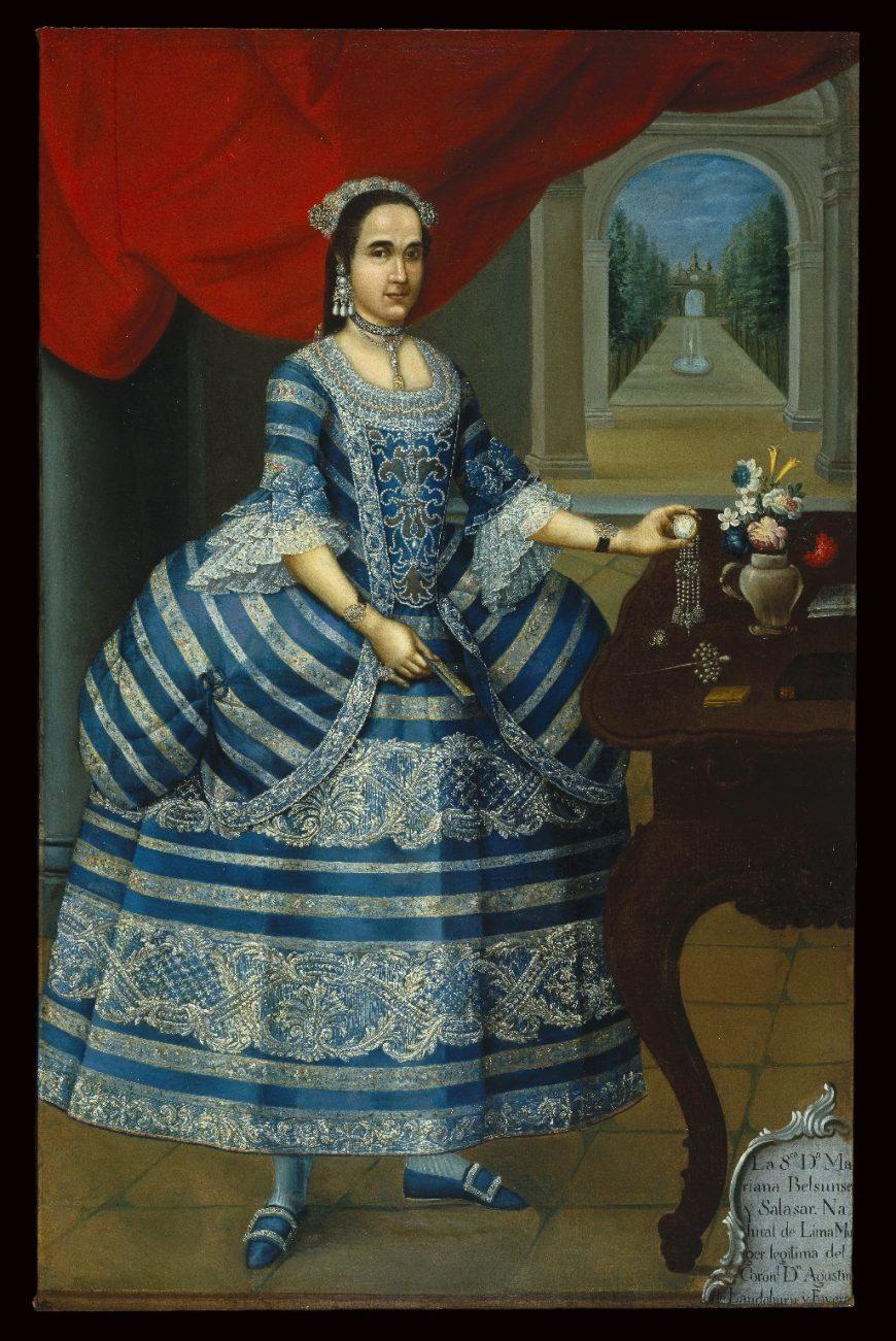 Pedro José Diaz (attr.), Portrait of Doña Mariana Belsunse y Salasar, c. 1780, oil on canvas, 198.4 x 127.2 cm