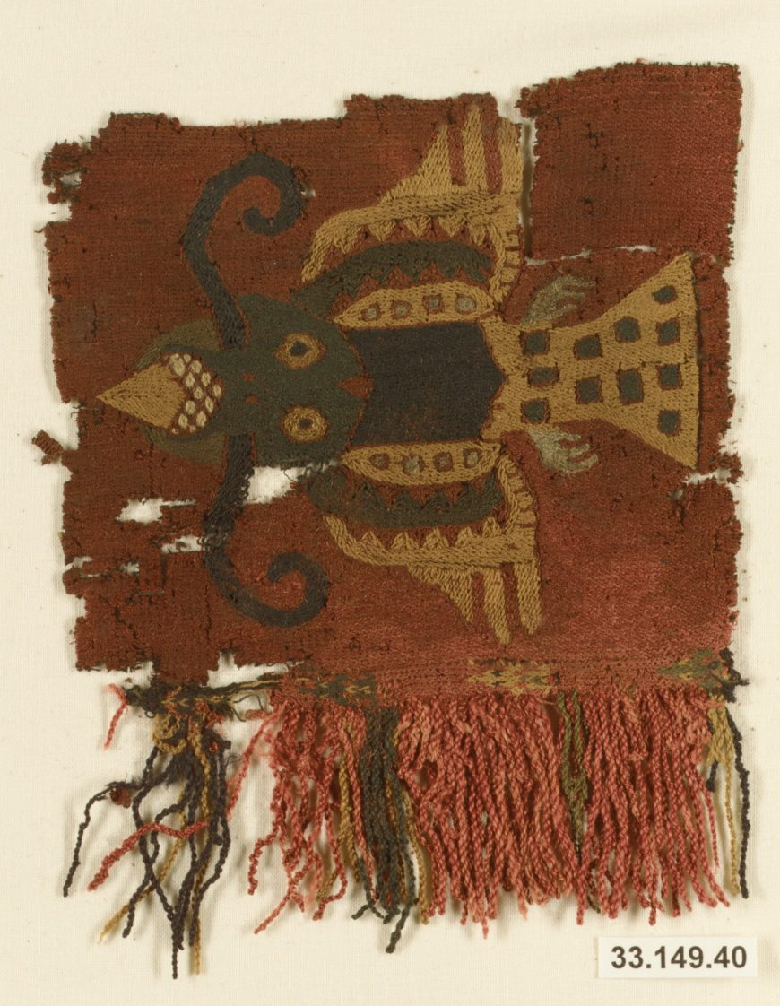 Border fragment, Paracas, 4th-3rd century B.C.E., cotton and camelid fiber, 1.43 x 12.7 cm (The Metropolitan Museum of Art)