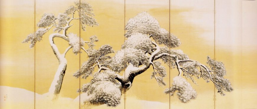 Maruyama Ōkyo, Pine Trees in Snow, between 1781 and 1789, left screen of a pair of folding screens, ink, color, and gold on paper (Mitsui Memorial Museum, image: Wikimedia Commons, public domain)