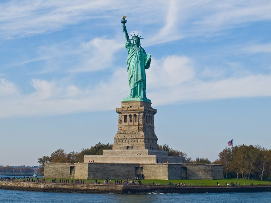 Frédéric-Auguste Bartholdi (sculptor), Gustave Eiffel (interior structure), Richard Morris Hunt (base), Statue of Liberty, begun 1875, dedicated 1886, copper exterior, 151 feet 1 inch / 46 m high (statue), New York Harbor (photo: William Warby, CC-BY-SA 2.0)