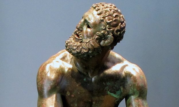 Apollonius, Boxer at Rest, 1st century B.C.E. (may be a copy of a 4th century sculpture), bronze, Palazzo Massimo, Museo Nazionale Romano
