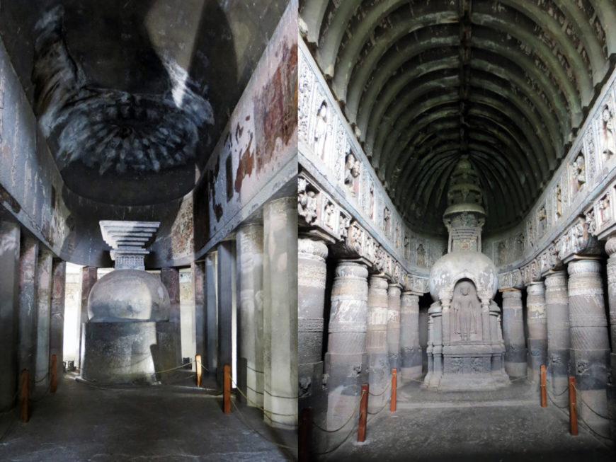 Rock-cut caves at Ajanta showing a solid stupa (left) and a stupa with the image of the Buddha (right), c. 2nd century B.C.E. to 5th century C.E., Aurangabad (photos: Arathi Menon, CC BY-SA-NC-4.0)
