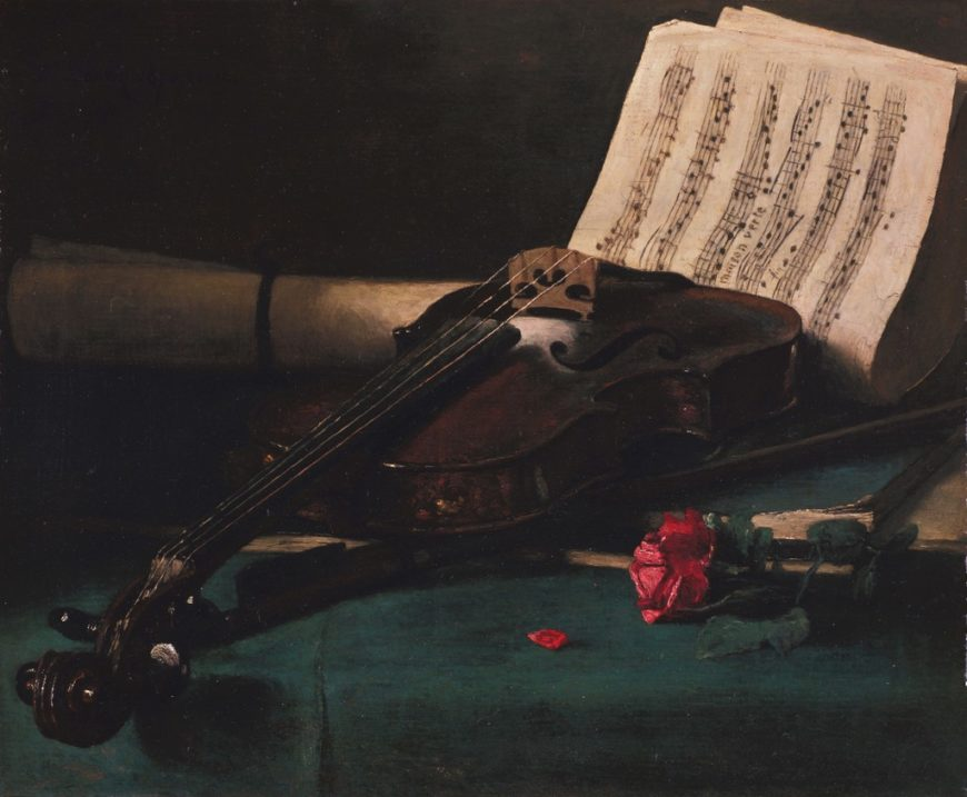 François Bonvin, Still Life with Violin, Sheet Music, and Rose, 1870, oil on canvas, 50.8 x 71.1 cm (Fine Arts Museum of San Francisco)