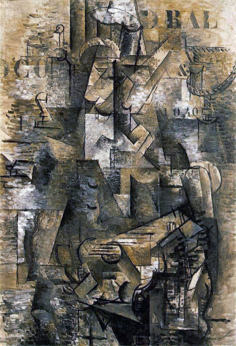 Georges Braque, The Portuguese, 1911-12, oil on canvas, 46 x 32 inches (Kunstmuseum, Basel)