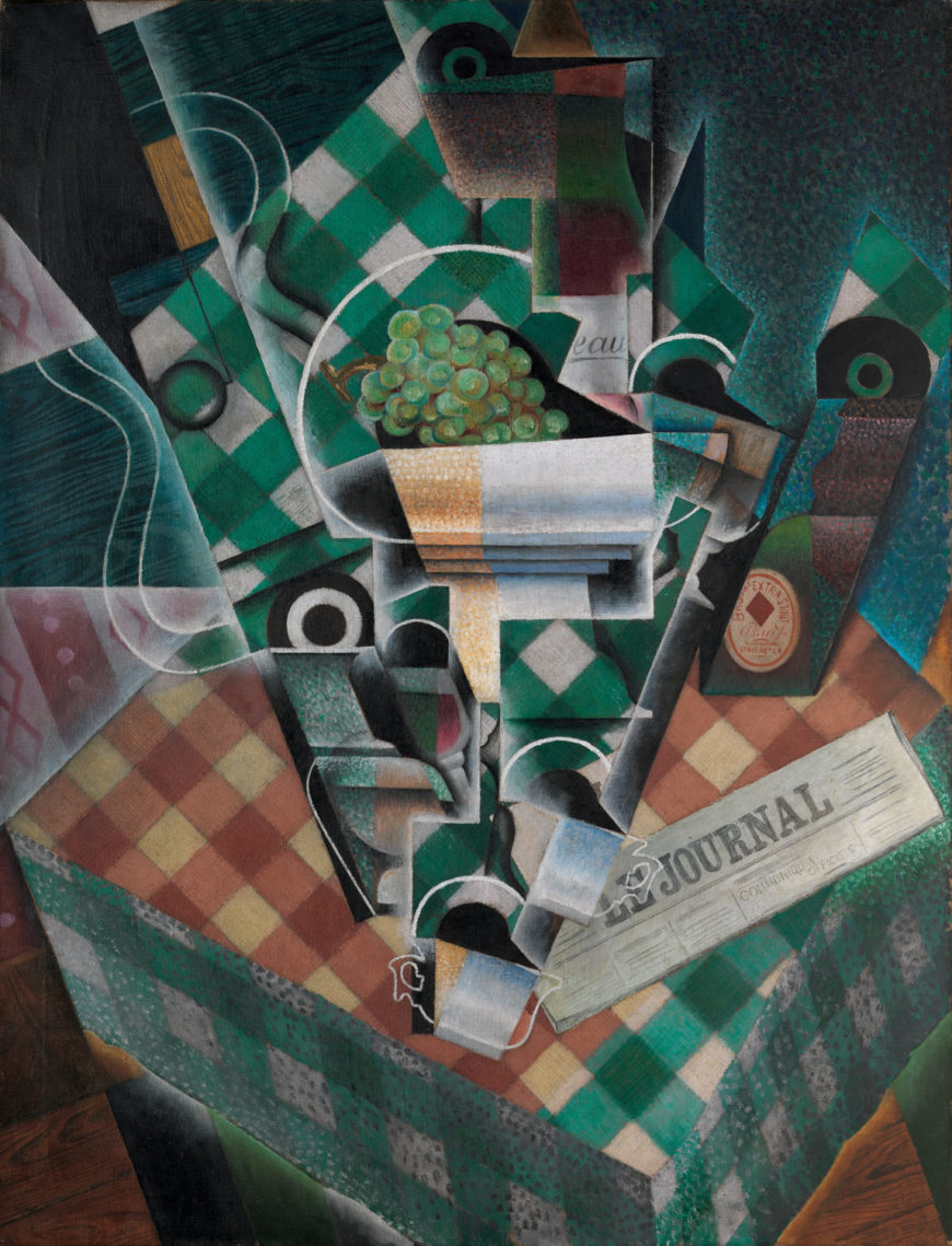 Juan Gris, Still Life with Checked Tablecloth, 1915, oil and graphite on canvas, 45 7/8 x 35 1/8 inches (The Metropolitan Museum of Art)