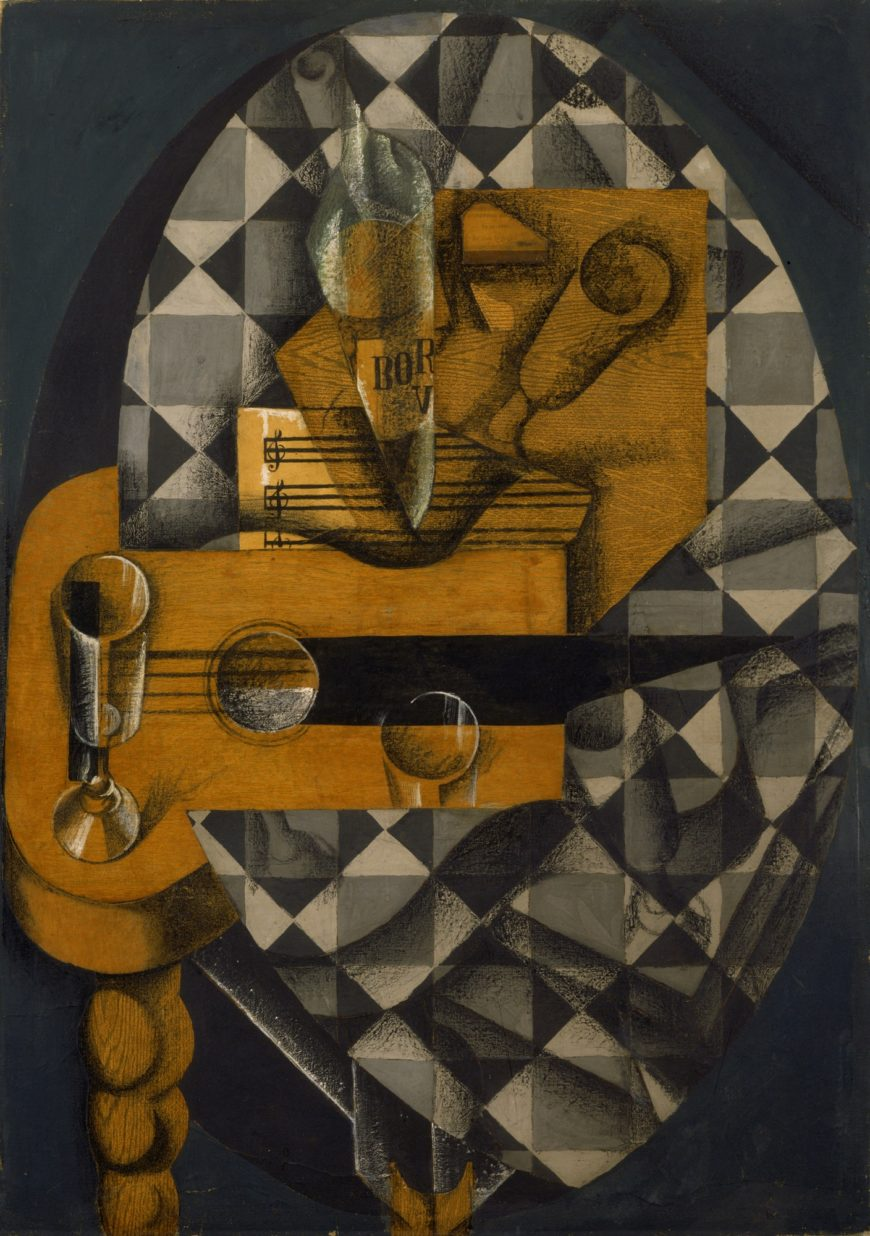 Juan Gris, Guitar and Glasses, 1914, paper, gouache and crayon on canvas, 36 1/8 x 25 1/2 inches (MoMA)