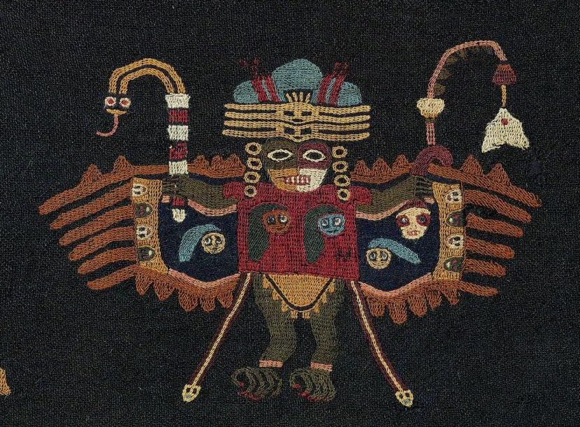 Detail of a Paracas Block Color mantle (Museum of Fine Arts, Boston)