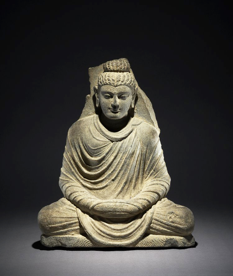An iconic form of the Buddha, 2nd - 3rd c., Kushan period, Gandhara, schist, 19.76 x 16.49 x 4.56 inches (The British Museum)