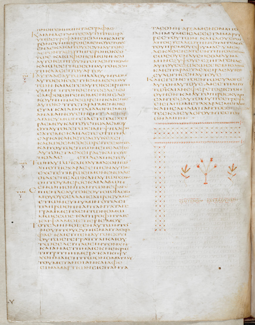 The Gospel of St Luke, from the fourth volume of the Codex Alexandrinus, one of the three early Greek manuscripts that preserve the Old and New Testaments together (British Library)