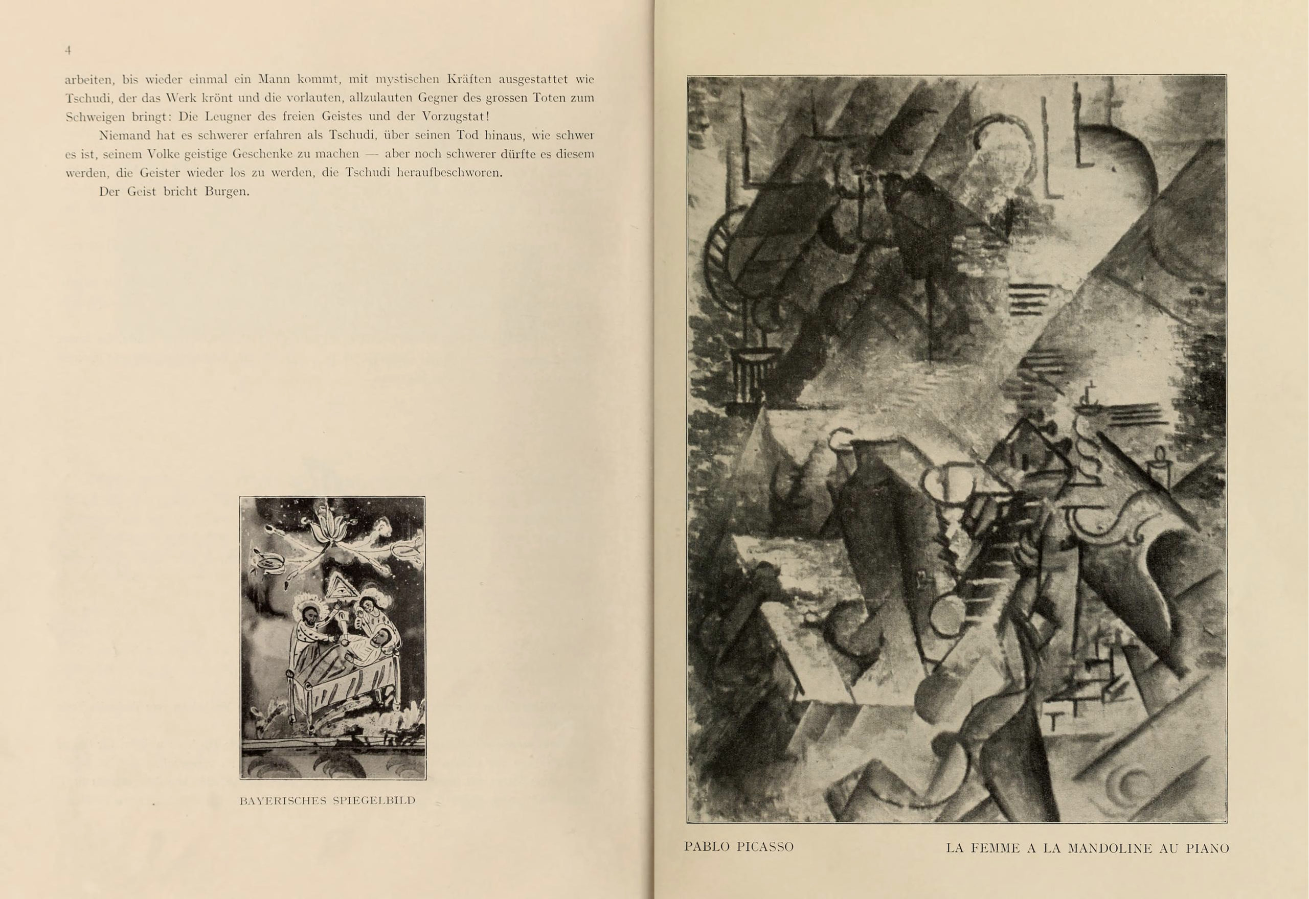 Blaue Reiter pages with Bavarian glass painting and Pablo Picasso's Woman with Guitar by the Piano, pp. 4-5