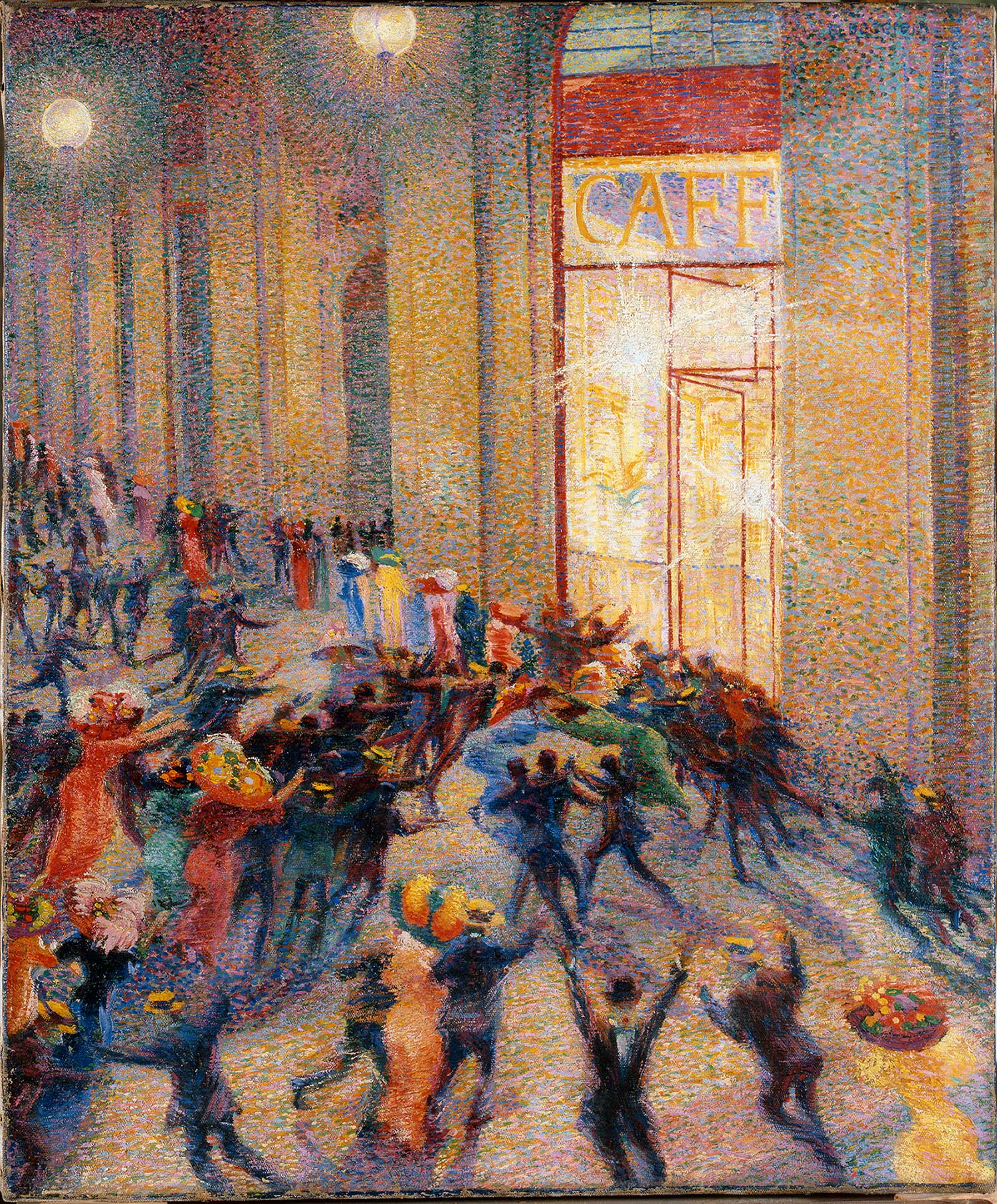 Umberto Boccioni, Riot in the Galleria, 1910, oil on canvas, 76 x 64 cm (Pinocoteca de Brera, Milan)