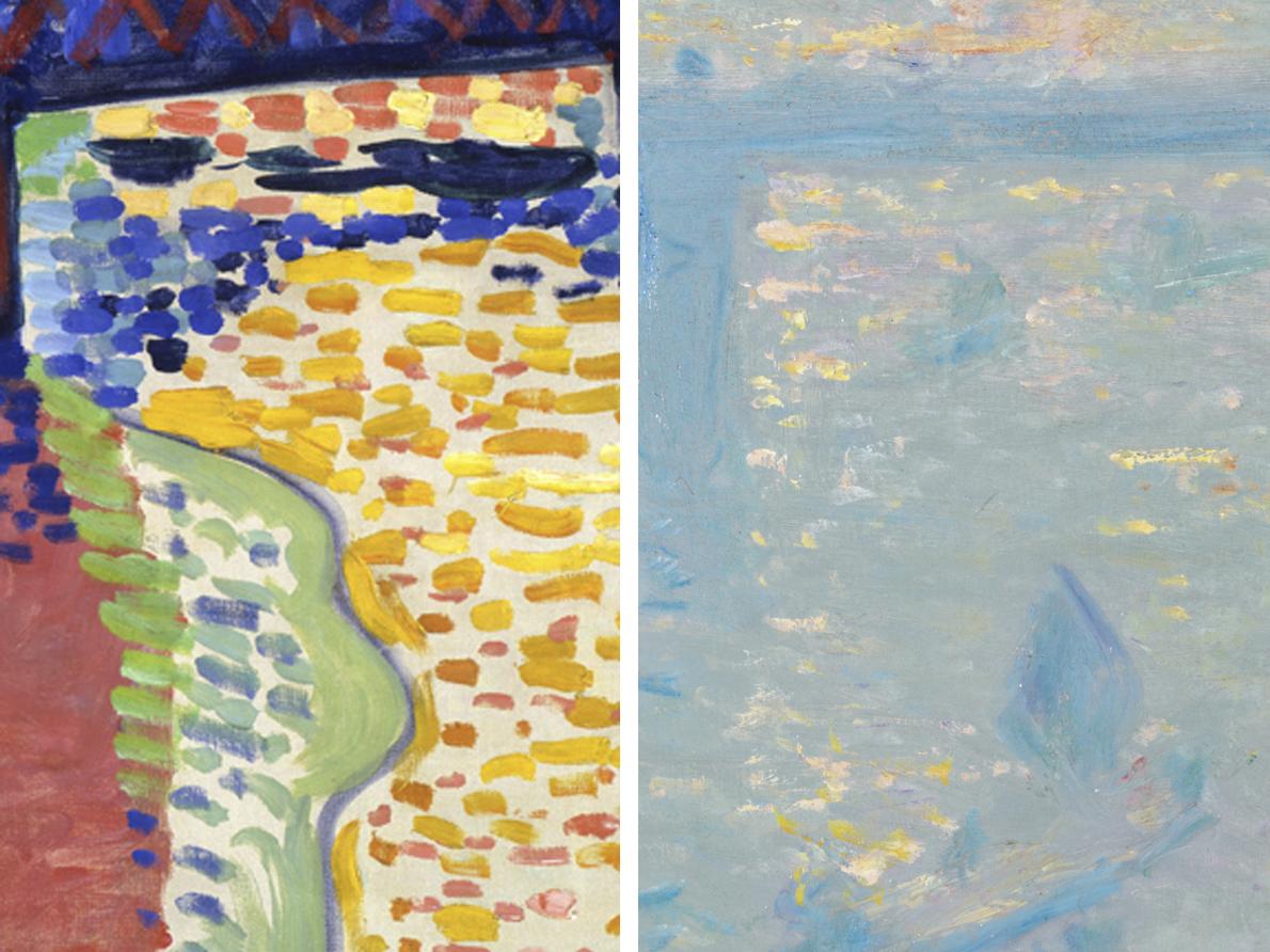 Right: André Derain, Charing Cross Bridge, London, 1906, oil on canvas, detail (National Gallery of Art, Washington). Left: Claude Monet, Charing Cross Bridge, 1899, oil on canvas, detail (Thyssen-Bornemisza Museum, Madrid)