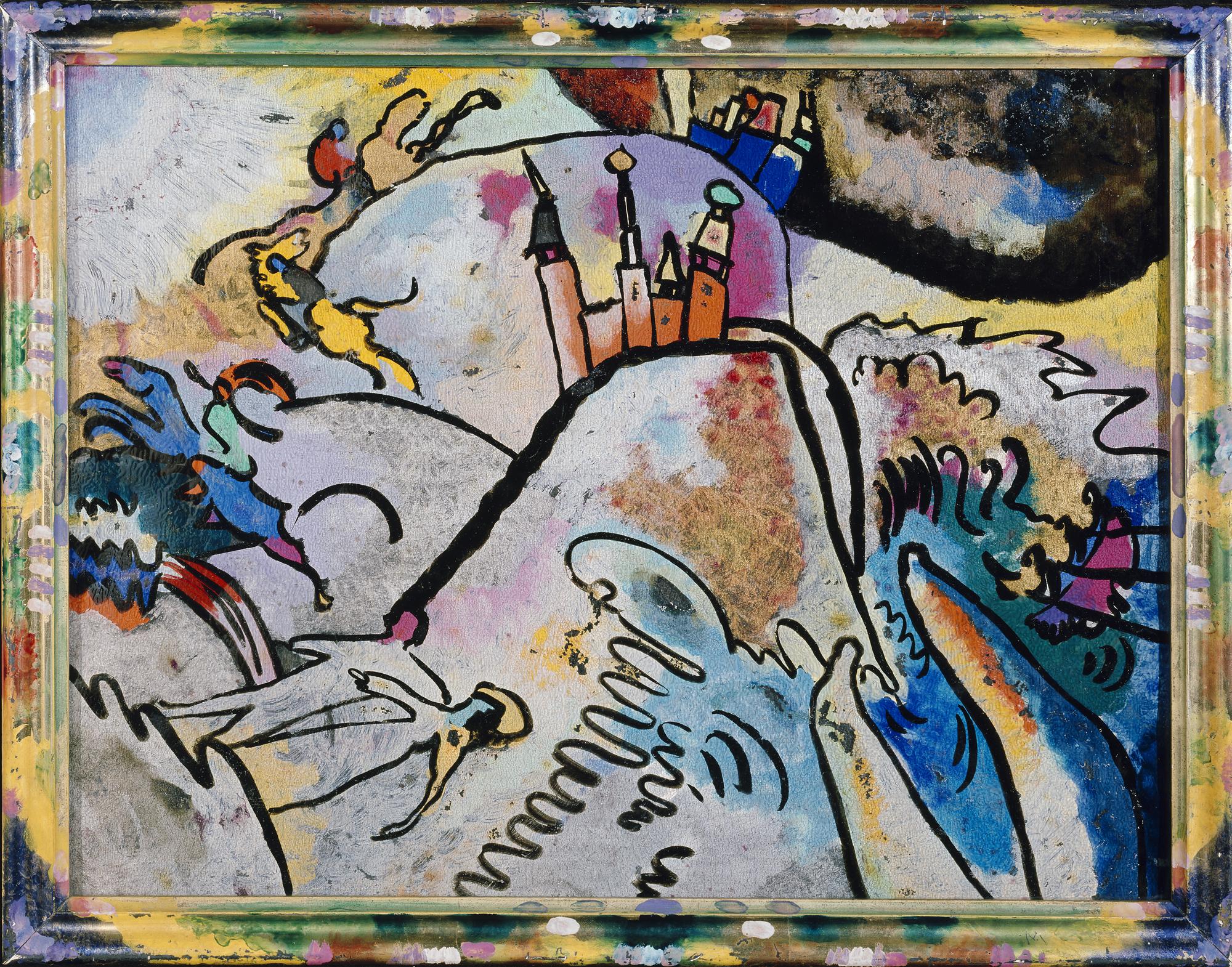 Vasily Kandinsky, With Sun, 1910, glass painting, 30.6 x 40.3 cm (Städtische Galerie im Lenbachhaus)