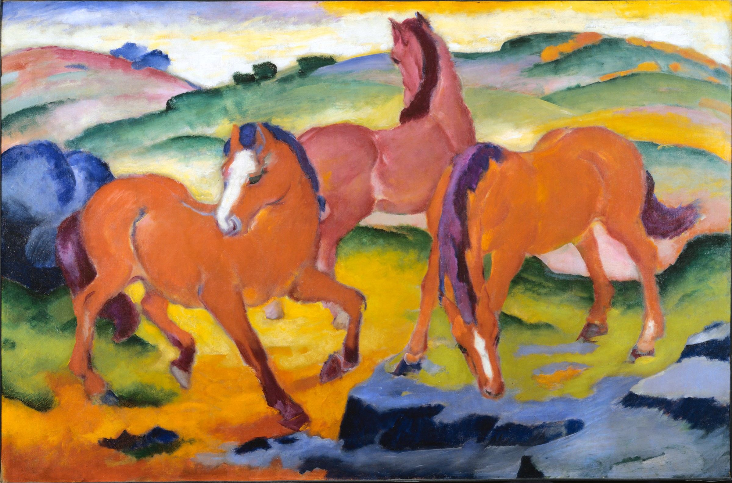 Franz Marc, Grazing Horses IV (The Red Horses), 1911, oil on canvas, 121 x 183 cm (Harvard Art Museums)