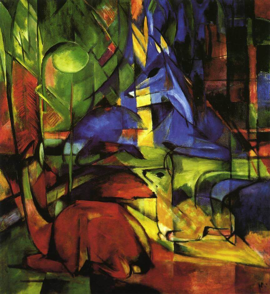 Franz Marc, Deer in the Forest II, 1914, oil on canvas, 110 x 100 cm (Staatliche Kunsthalle Karlsruhe)