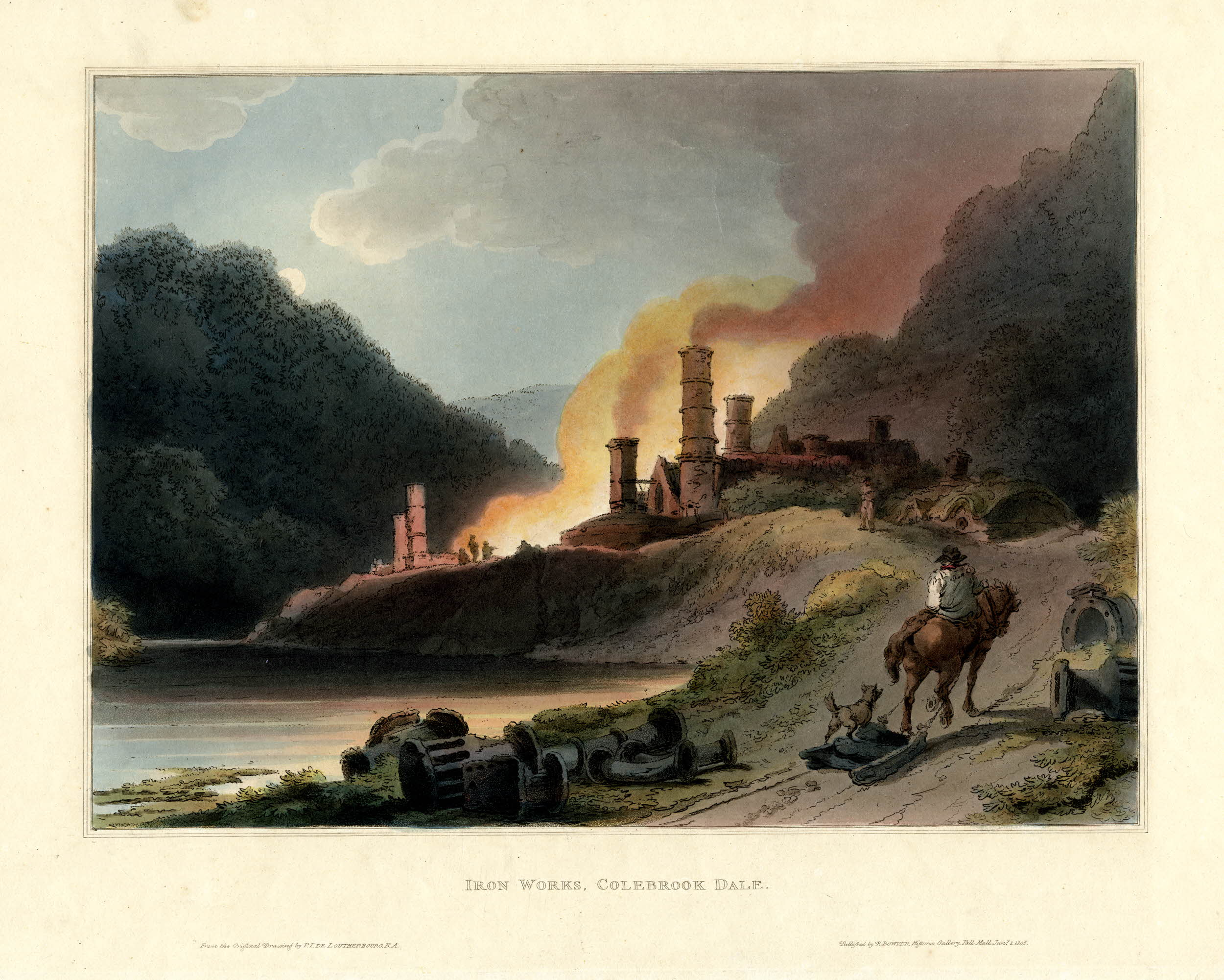 Philip de Loutherbourg, Iron Works, Coalbrookdale, lithograph from Picturesque Scenery of England and Wales, 1805, 31 x 38.7 cm
