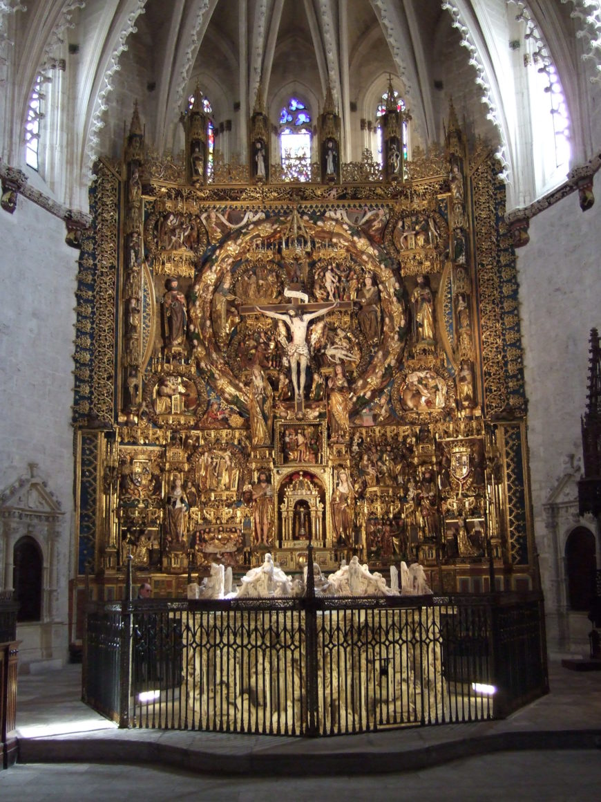 The Tomb of Juan II of Castile and Isabel of Portugal in front of the altar of the church of the Carthusian Monastery of Miraflores (photo: Ecelan, CC BY-SA 4.0)
