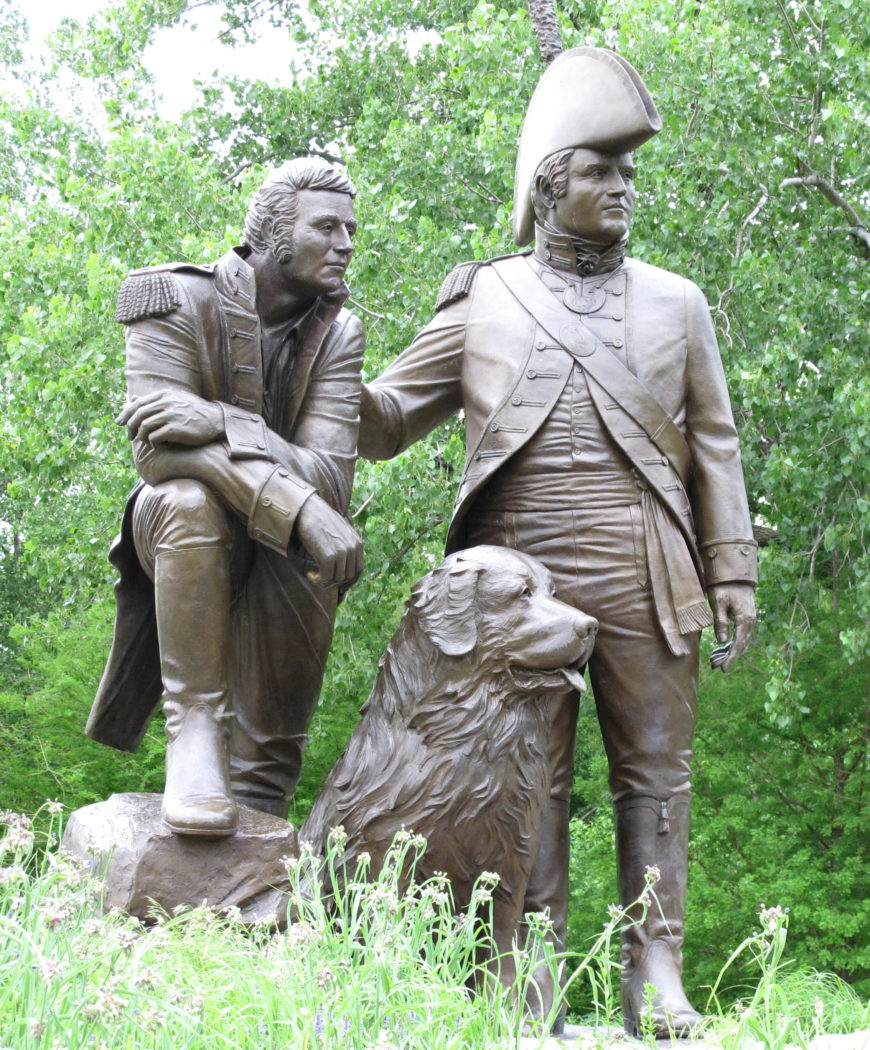 Bronze statue by Pat Kennedy of Meriwether Lewis, William Clark and Clark's dog, Seaman, dedicated in 2003, Saint Charles, Missouri (photo: David Goodrich, CC BY 2.0)