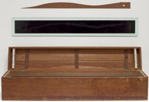 Marcel Duchamp, Three Standard Stoppages, 1913-14, wood box with threads and cut wood slats, 28.2 x 129.2 x 22.7 cm (MoMA)