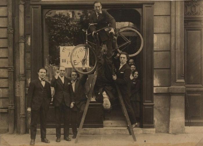 Paris Dadaists at the opening of Max Ernst exhibition at Au Sans Pareil, 1921
