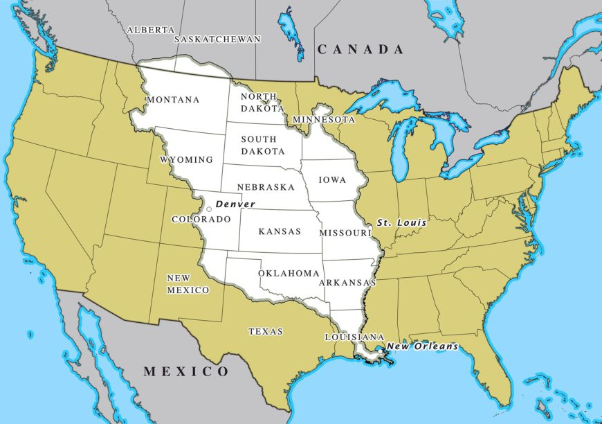 The Louisiana Purchase states marked in white (image: David Levy, CC SA-BY 4.0)