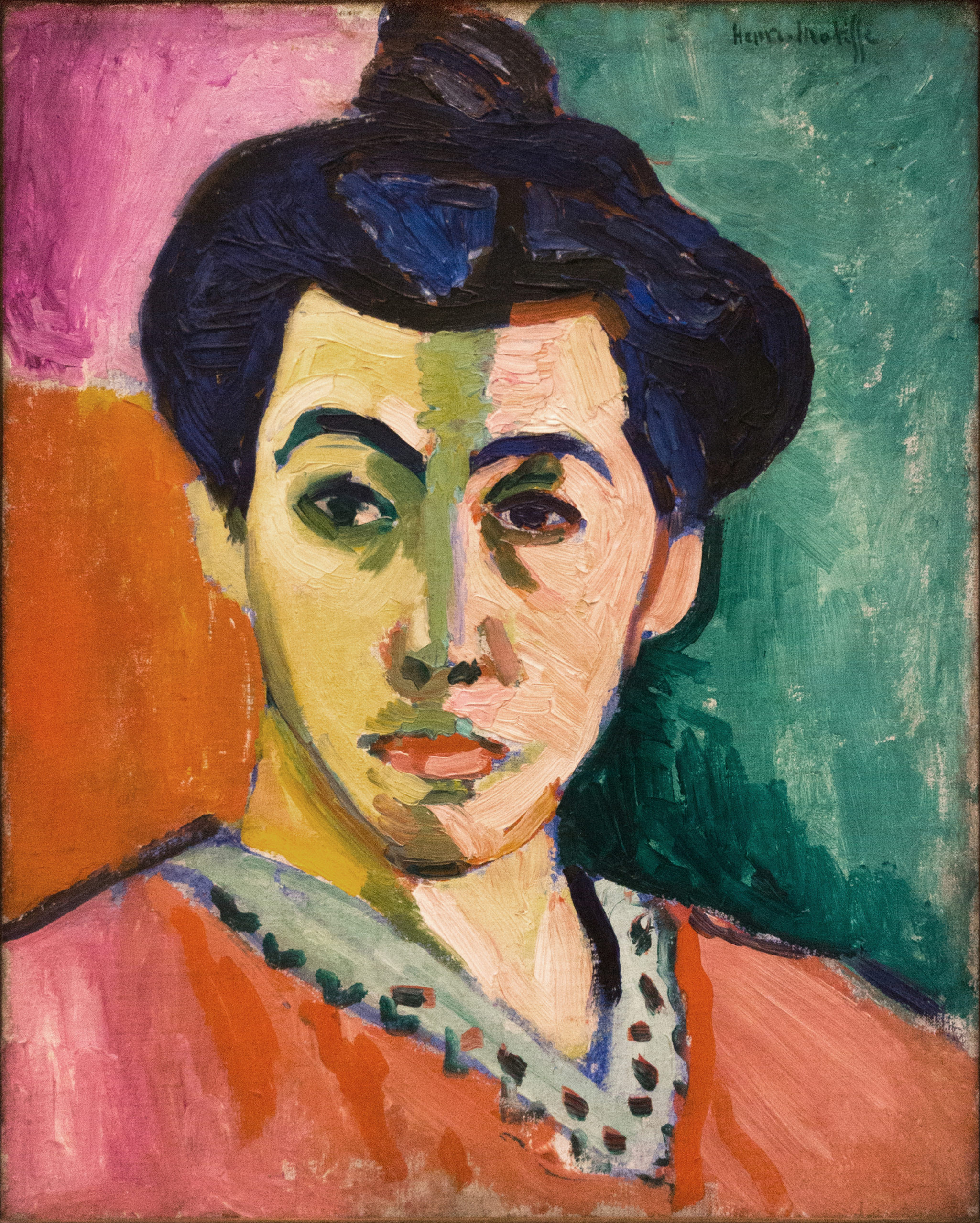 Henri Matisse, Portrait of Mme. Matisse: The Green Line, 1905, oil on canvas, 40.5 x 32.5 (Statens Museum for Kunst, Copenhagen)