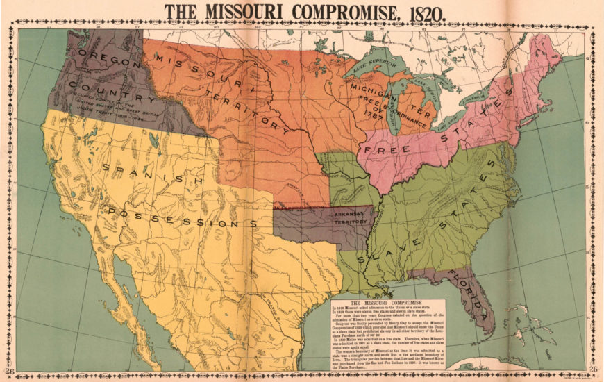 The Missouri Compromise of 1820 from McConnell's Historical maps of the United States, 1919 (Library of Congress Geography and Map Division, public domain)