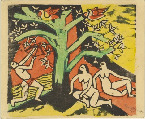 Max Pechstein, Killing of the Banquet Roast, 1911, woodcut and watercolor, 24 x 29 cm (MoMA)