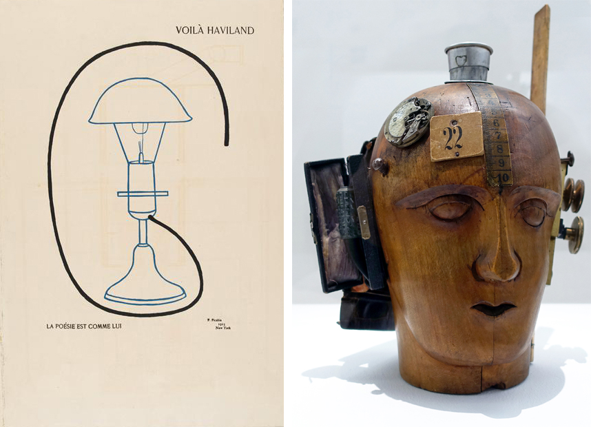 "Left: Francis Picabia, Voilà Haviland: La poésie est comme lui, 1915, ink, tempera, pencil, and collage on board, 25¾"" × 18¾"" (Musée d'Orsay); Right: Raoul Hausmann, Spirit of the Age: Mechanical Head, 1919, wooden mannequin head with attached objects, 32.5 x 21 x 20 cm (Centre Pompidou, Musée National d'Art Moderne, Paris) photo: Steven Zucker, CC BY-NC-SA 2.0"