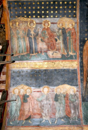 Paintings illustrating the genealogy of Christ. Upper image showing crowned figures. St. Nicholas Church, 1499, Balinesti (image: Vlad Bedros)