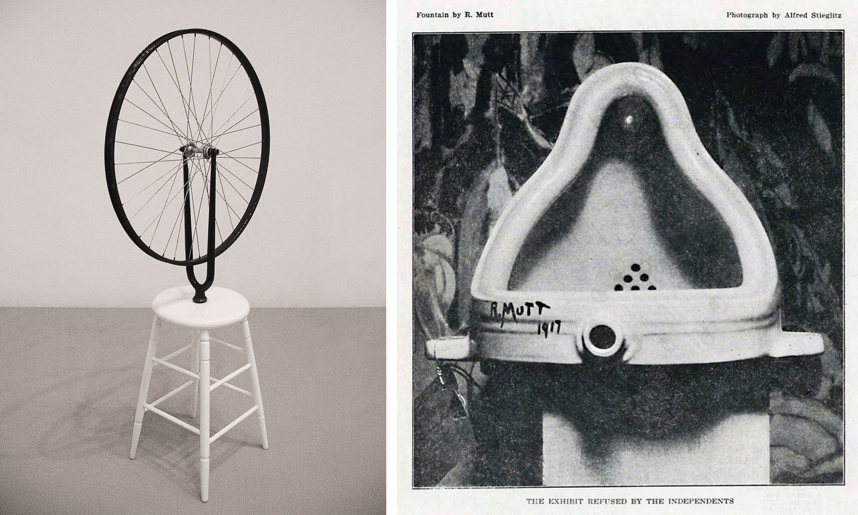 Left: Marcel Duchamp, Bicycle Wheel, original 1913, reproduction 1964, wheel and painted wood, 64.8 x 59.7 cm (Philadelphia Museum of Art) (photo: Stefan Powell, CC BY 2.0); Right: Marcel Duchamp, Fountain (original), photographed by Alfred Stieglitz in 1917 after its rejection by the Society of Independent Artists