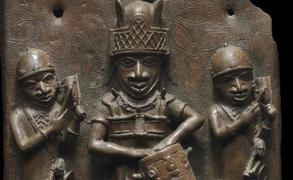 Artist Unidentified, Relief plaque showing a dignitary with drum and two attendants striking gongs, c. 1530-1570, copper alloy (Robert Owen Lehman Collection, Courtesy Museum of Fine Arts, Boston)