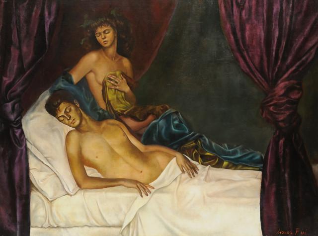 Leonor Fini, The Alcove/Self Portrait with Nico Papatakis, 1941, oil on canvas