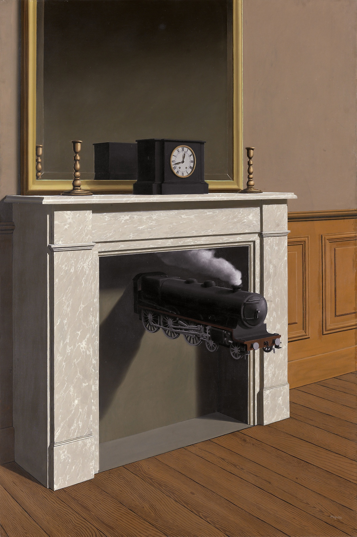 René Magritte, Time Transfixed, 1938, oil on canvas, 57 7/8 x 38 7/8 inches (Art Institute of Chicago)