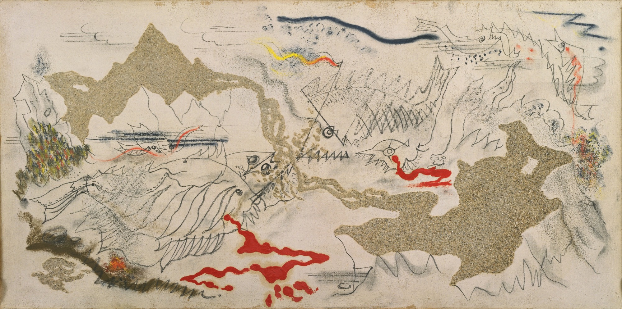 André Masson, Battle of Fishes, 1926, sand, gesso, oil, pencil and charcoal on canvas, 14 ¼ x 28 ¾ inches (MoMA)
