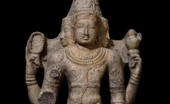 Stone figure of Brahma, c. 1110-1150, Chola dynasty, 131 cm high, from Tamil Nadu, southern India © Trustees of the British Museum