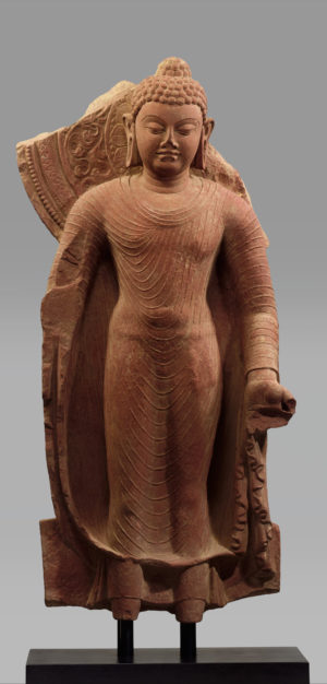 Standing Buddha Offering Protection, late 5th century, red sandstone, Mathura (The Metropolitan Museum of Art)