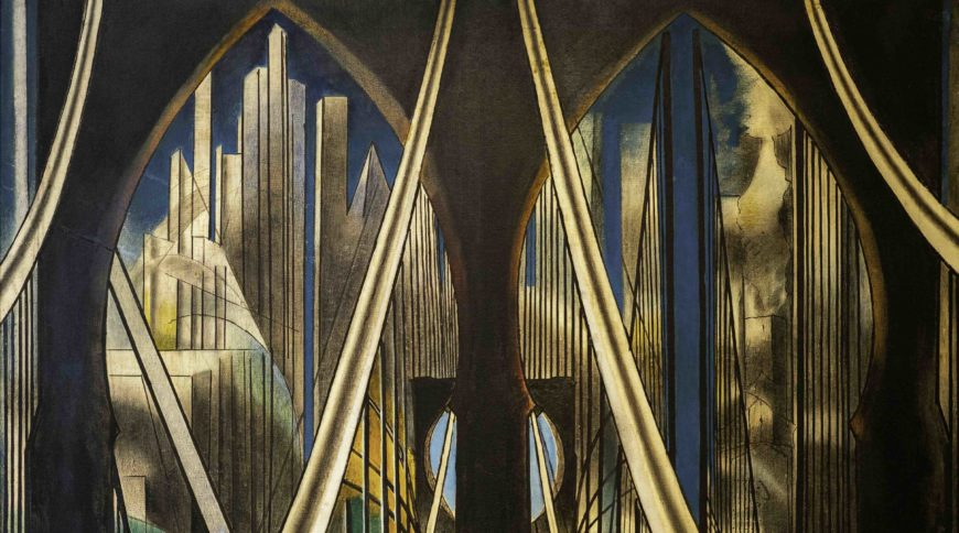 Joseph Stella, The Voice of the City of New York Interpreted (detail), 1920-22, oil and tempera on canvas (five panels), 99.75 x 270 inches overall (Purchase 1937 Felix Fuld Bequest Fund 37.288a-e, Newark Museum), a Seeing America video