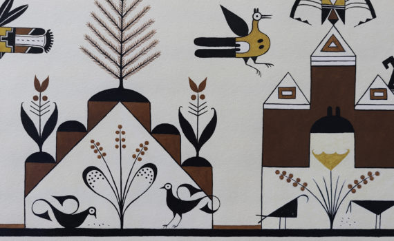 Thumbnail Velino Shije Herrera (Ma Pe Wi), Design, Tree and Birds, c. 1930, watercolor on paper, 25.25 x 17.75 inches (Newark Museum)