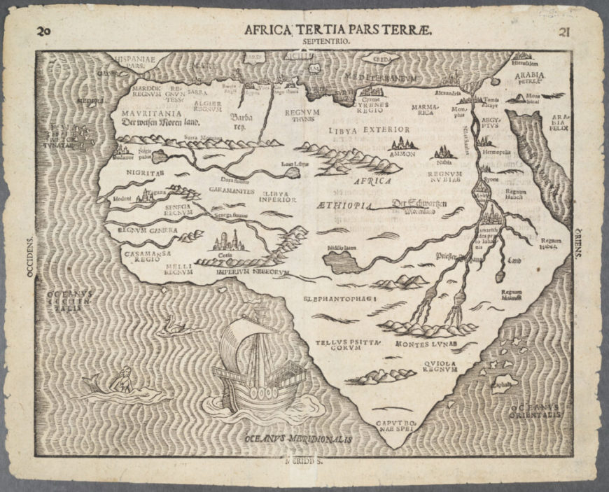 Heinrich Bünting's Map of Africa from Travel through Sacred Scripture, Magdeburg, Germany, 1597. Courtesy of Dr. Oscar I. Norwich Collection of Maps of Africa and its Islands, 1486 – ca. 1865., David Rumsey Map Center, Stanford Libraries.
