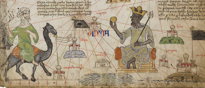 Mansa Musa and the Sahara Desert in the Catalan Atlas of Abraham Cresques, 1375, made in Majorca, Spain. Paris, Bibliothèque nationale de France, Ms. Espagnol 30, fol. 5v. Source gallica.bnf.fr / BnF