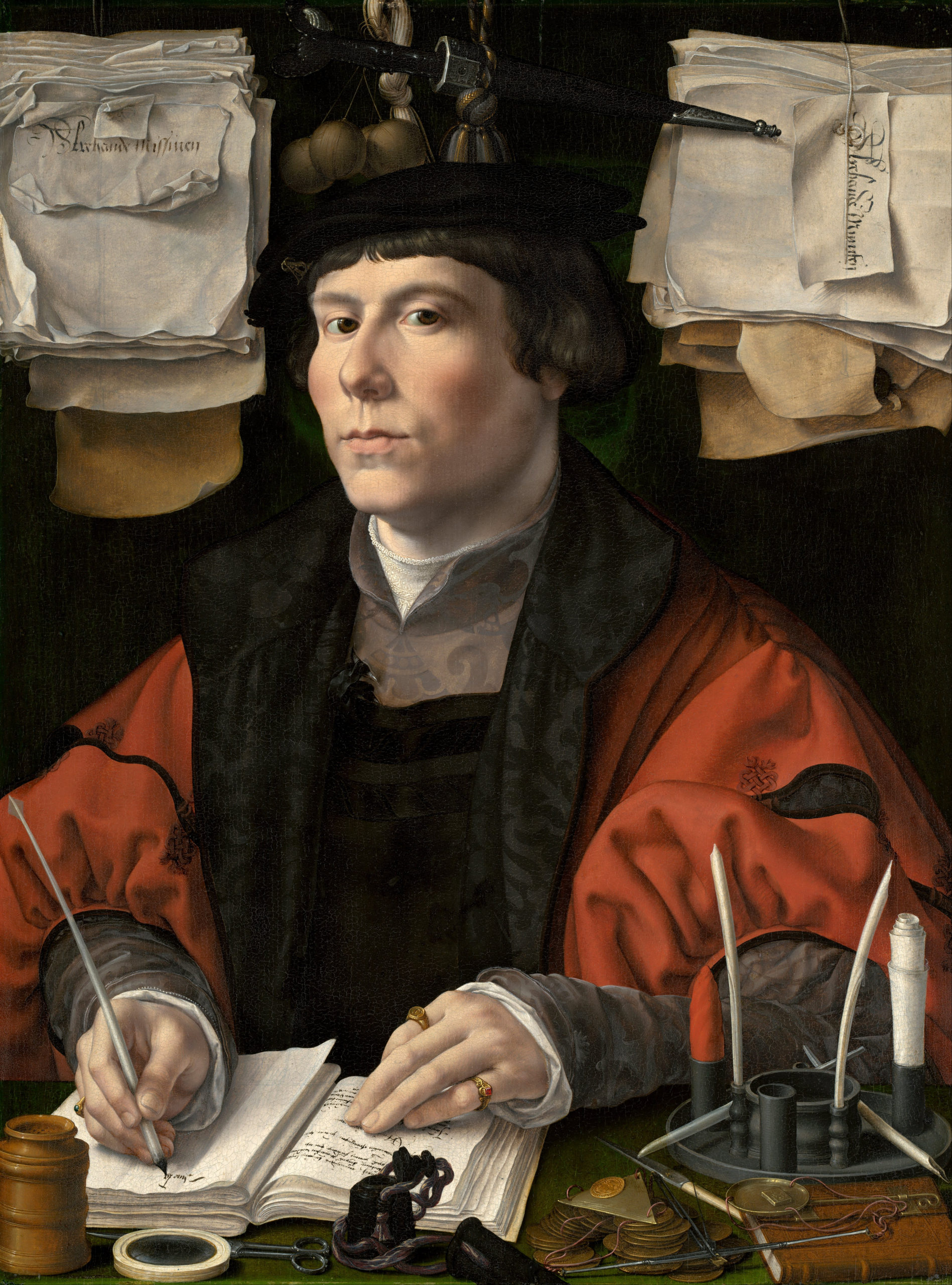 Jan Gossaert, Portrait of a Merchant, c. 1530, oil on panel, 25 x 18 3/4 inches (National Gallery of Art, Washington)